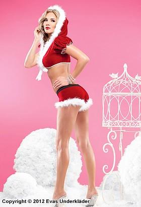 Bolero med huva och shorts med julkänsla
